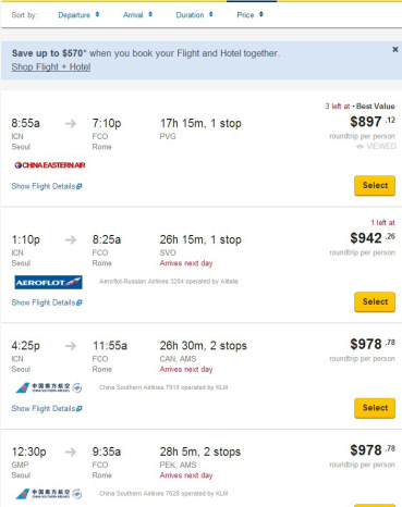 Flight Schedule in Expedia