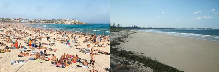 Bondi beach crowded by tourists
