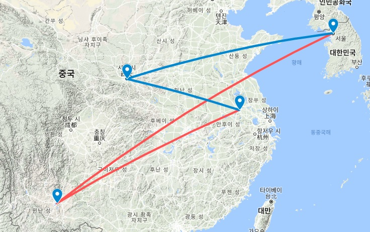 Route_SEL-KMG-NKG-SIA-SEL